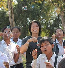picture of Penh Lo and students