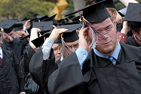 Picture of students in cap and gowns