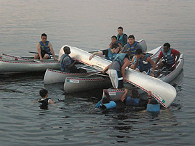 Picture of students in canoes
